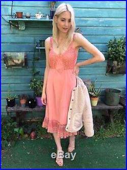 Womens Vintage Size Small Pink Coral Lace Trim Slip Dress