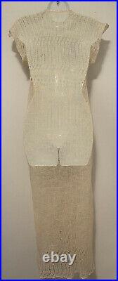 Wool Slip Dress French Haute Couture Vintage Crochet V Neck Cream Maxi
