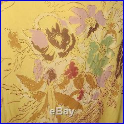 XS 1930s Yellow Dress Chiffon Floral Print Long Attached Slip Maxi Gown 30s VTG