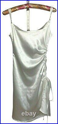 Y2k Slip Dress Size Small White Side Gathered Adjustable Satin Vintage 90s 2000