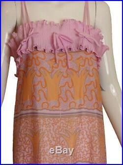 ZANDRA RHODES-1990s Pink Pleated Print Nightgown, Size-6
