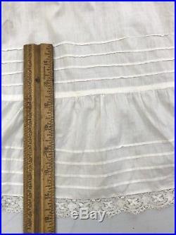 ZL- Antique Victorian Edwardian Cotton Lace Nightgown Slip Dress Flounce S/M