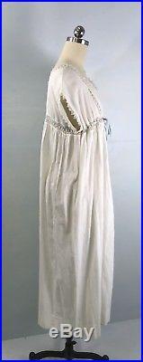 ZM- Antique Edwardian White Cotton Tatting Lace Nightgown Slip Dress M/L
