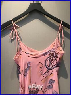 Zandra Rhodes Size M Pink Silk Slip Dress Vintage 2217-20-6819