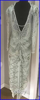 Zandra Rhodes Unworn Vintage Hand Painted Beaded Silk Dress with Slip UK12 US10