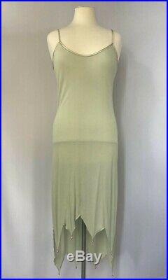 Zandra Rhodes Vintage Hand Painted Beaded Turquoise Silk Dress with Beaded Slip