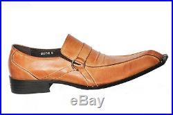 Zota Mens Tan Brown Vintage Leather Slip On Dress Trendy Party Medium New Shoe