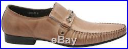 Zota Mens Vintage Taupe Soft Leather Buckle Dress Casual Slip On Loafer Shoe